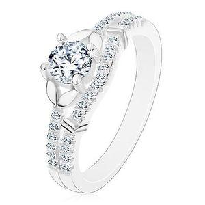 Stříbrný 925 prsten, čirý zirkon, dvojice lístečků a linie drobných zirkonků - Velikost: 56 obraz