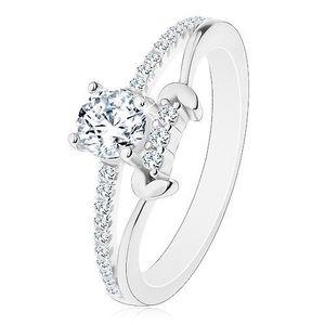 Stříbrný prsten 925, rozdělená ramena, čirý kulatý zirkon, lístky - Velikost: 56 obraz