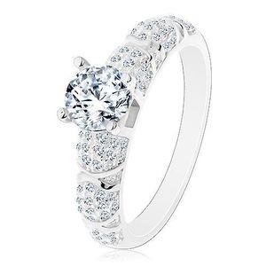 Zásnubní prsten, stříbro 925, větší kulatý zirkon čiré barvy, třpytivá ramena - Velikost: 54 obraz