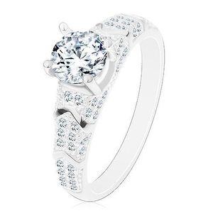 Stříbrný 925 prsten, kulatý zirkon čiré barvy, třpytivá ramena, obloučky - Velikost: 54 obraz