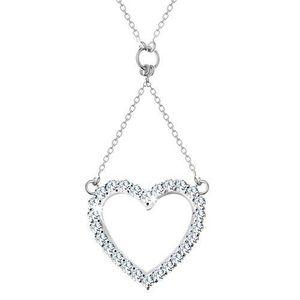 Stříbrný náhrdelník 925, řetízek a přívěsek - zirkonová kontura srdce obraz