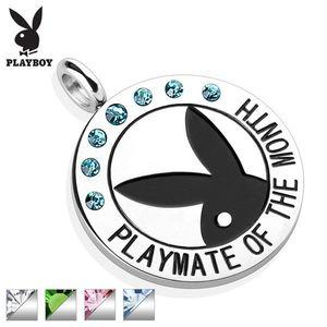 Ocelový kruhový přívěsek stříbrné barvy, černý zajíček Playboy, zirkonky, nápis - Barva: Zelená obraz