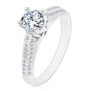 Stříbrný prsten 925, kulatý čirý zirkon, třpytivá zirkonová ramena - Velikost: 54 obraz
