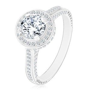 Stříbrný 925 prsten, zářivý kulatý zirkon čiré barvy ve třpytivém kruhu - Velikost: 56 obraz