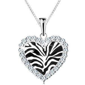 Stříbrný náhrdelník 925, srdíčko s černým zebřím motivem a s čirými zirkonky obraz