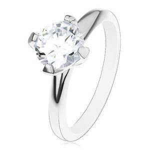 Zásnubní prsten ze stříbra 925, vyvýšený kulatý zirkon čiré barvy - Velikost: 52 obraz