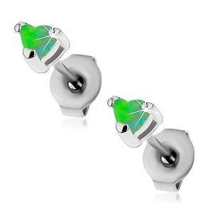 Ocelové náušnice stříbrné barvy, syntetická opálová srdíčka zelené barvy, 3 mm obraz