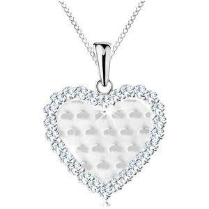 Stříbrný 925 náhrdelník, srdíčko s blýskavými obloučky a s čirým lemem obraz