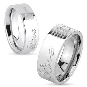 Lesklý ocelový prsten stříbrné barvy, nápis Love a zamknutý zámeček, 8 mm - Velikost: 67 obraz