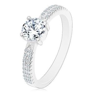 Stříbrný prsten 925, kulatý zirkon čiré barvy v kotlíku, zirkonky na ramenech - Velikost: 59 obraz