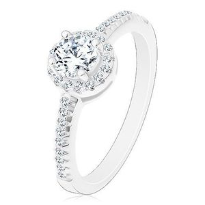 Zásnubní prsten - stříbro 925, zářivý kulatý zirkon čiré barvy ve třpytivém kruhu - Velikost: 51 obraz