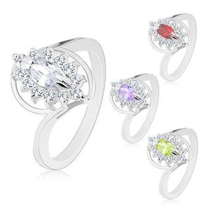 Prsten s lesklými rameny stříbrné barvy, broušený zrnkovitý zirkon, čirý lem - Velikost: 59, Barva: Světle fialová obraz