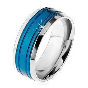 Prsten z chirurgické oceli, modrý pás, lemy stříbrné barvy, zářezy, 8 mm - Velikost: 68 obraz