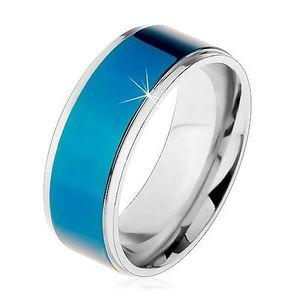 Ocelový prsten, tmavomodrý pruh, lemy stříbrné barvy, vysoký lesk, 8 mm - Velikost: 68 obraz
