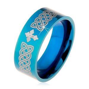 Lesklý prsten z oceli 316L, modrá barva, keltské symboly a kříž, 8 mm - Velikost: 59 obraz