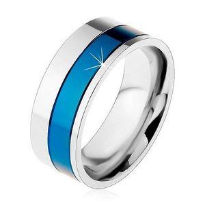 Prsten z chirurgické oceli, pásy modré a stříbrné barvy, 8 mm - Velikost: 68 obraz