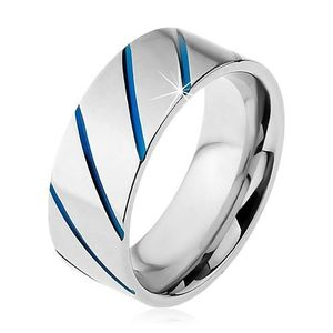 Prsten z oceli 316L stříbrné barvy, modré diagonální pruhy, 8 mm - Velikost: 70 obraz