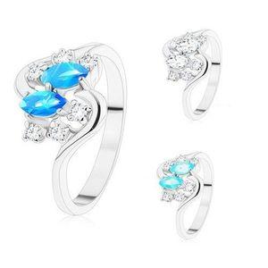 Prsten ve stříbrném odstínu, dvě barevná zrnka a kulaté zirkony čiré barvy - Velikost: 59, Barva: Modrá obraz
