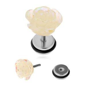Nepravý akrylový plug do ucha - akrylová růže s duhovými odlesky obraz
