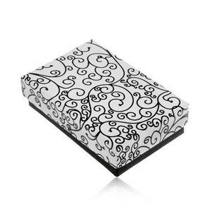 Krabička na set nebo náhrdelník v černobílém provedení, potisk s ornamenty obraz