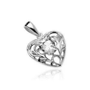 Stříbrný 925 přívěsek - srdce s čirým zirkonovým srdíčkem a ornamenty obraz