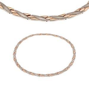 Magnetický náhrdelník z oceli 316L, měděná a stříbrná barva, šikmé proužky obraz