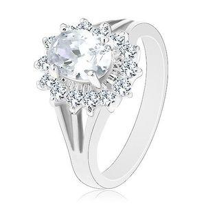 Prsten s rozdělenými rameny, oválný zirkonový květ čiré barvy - Velikost: 62 obraz