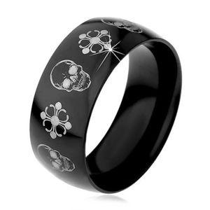 Černý ocelový prsten, lebky a kříže stříbrné barvy, 9 mm - Velikost: 59 obraz