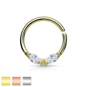 Ocelový piercing do nosu, kroužek, dva čiré zrnkovité zirkony, různé barvy - Barva: Stříbrná obraz