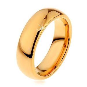 Lesklý wolframový prsten zlaté barvy, hladký zaoblený povrch, 6 mm - Velikost: 64 obraz