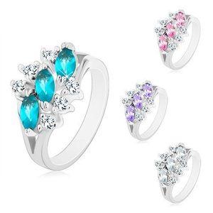 Lesklý prsten ve stříbrném odstínu, tři zirkonová zrnka, čiré zirkonky - Velikost: 59, Barva: Růžová obraz
