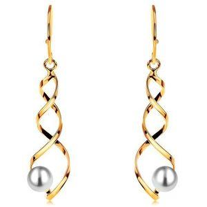 Visací zlaté náušnice 585 - lesklá spirála s bílou kulatou perlou, háčky obraz
