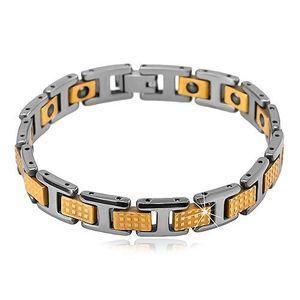 Dvoubarevný wolframový náramek - lesklé obdélníkové a H-články, magnety obraz