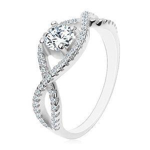 Stříbrný prsten 925, propletené zirkonové linie, kulatý broušený zirkon - Velikost: 58 obraz