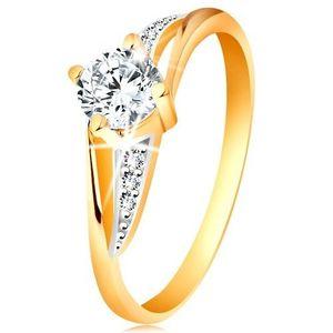 Prsten ze 14K zlata - rozdělená dvoubarevná ramena, čiré zirkony - Velikost: 60 obraz