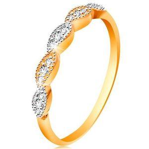 Prsten ve 14K zlatě - dvoubarevná zrnka se vsazenými zirkonky, lesklá ramena - Velikost: 58 obraz
