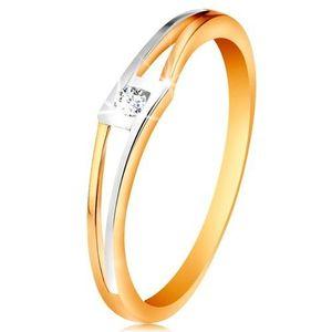 Prsten ze 14K zlata - kulatý čirý zirkon v kosočtverci, dvoubarevná rozdělená ramena - Velikost: 60 obraz