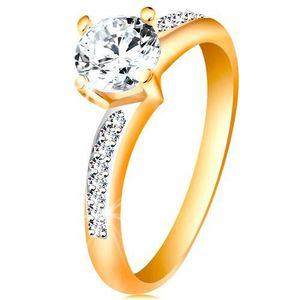 Prsten ve 14K zlatě - zářivý kulatý zirkon čiré barvy, zirkonová ramena - Velikost: 52 obraz