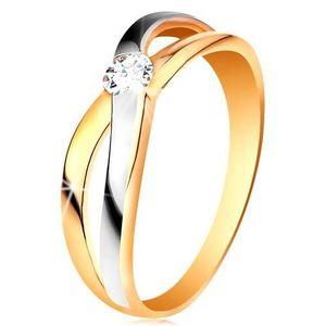Prsten ze zlata 585 - kulatý zirkon čiré barvy, rozdělená překřížená ramena - Velikost: 60 obraz