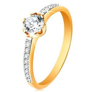 Prsten ze 14K zlata - zářivý kulatý zirkon čiré barvy, zirkonová ramena - Velikost: 52 obraz