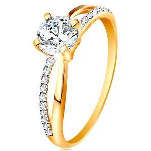 Prsten ze zlata 585 - překřížená rozdvojená ramena, kulatý zirkon čiré barvy - Velikost: 60 obraz