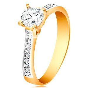 Prsten ze 14K zlata - blýskavý kulatý zirkon čiré barvy, zirkonová ramena - Velikost: 60 obraz