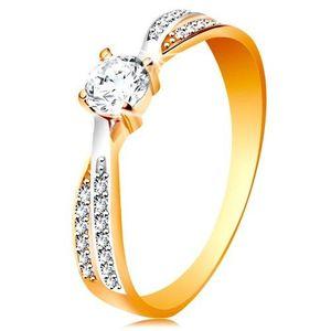 Prsten ve 14K zlatě - propojené dvoubarevné linie ramen, kulatý zirkon čiré barvy - Velikost: 58 obraz