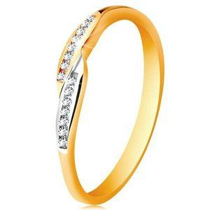 Prsten ve 14K zlatě, rozšířené dvoubarevné konce ramen se vsazenými zirkony - Velikost: 58 obraz