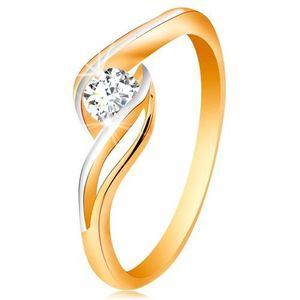 Zlatý prsten 585 - čirý zirkon, dvoubarevná, rozdělená a zvlněná ramena - Velikost: 58 obraz