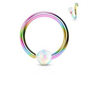 Piercing z chirurgické oceli, lesklý duhový kroužek s opálovou kuličkou - Tloušťka x průměr x velikost kuličky: 1, 2 x 6 x 3 mm obraz