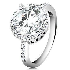 Stříbrný prsten 925, kulatý broušený zirkon, čirý zirkonový lem - Velikost: 57 obraz