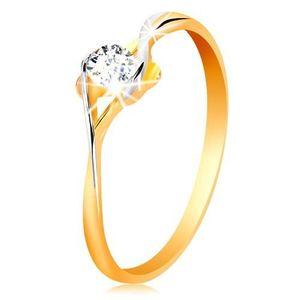 Prsten ze zlata 585 - rozdělená dvoubarevná ramena, kulatý čirý zirkon - Velikost: 52 obraz