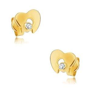 Diamantové zlaté náušnice 585 - lesklé srdce s výřezem a čirým briliantem obraz