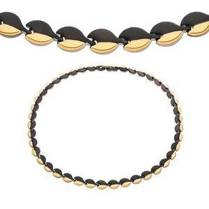 Magnetický náhrdelník z chirurgické oceli, oblé články černé a zlaté barvy obraz
